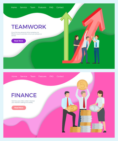 Successful teamwork and finances workers with coins vector. Financial assets, rising up level of earning, workers working on promotion and increment