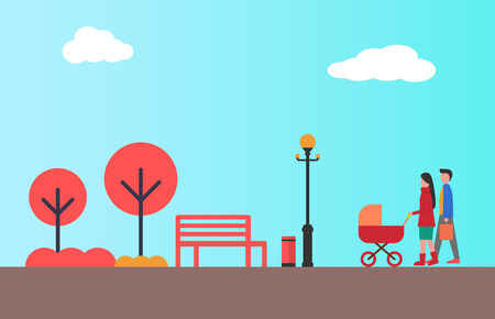 Happy couple walking together with pram in autumn city park. Young parents and newborn child, empty bench and street lamp, color bushes and trees vector  イラスト・ベクター素材