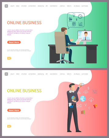 Online business, distant conference with worker vector. Boss in office talking to freelancer and discussing project details. Man with globe network