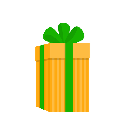 Gift box with stripes wrapped wide green ribbon and big bow. Holiday yellow extended present in flat style isolated on white, element for decoration vector