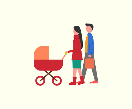 People with kid in pram, family walking together vector. Newborn kid in perambulator, father and mother parenting care of child. Married couple stroll Çizim