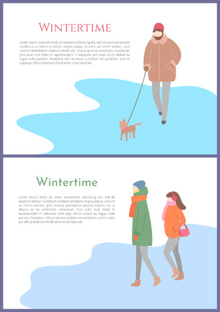 Wintertime person walking dog on leash vector. Canine with owner, couple standing on ice, winter season, outdoors activities, people in warm clothes Иллюстрация