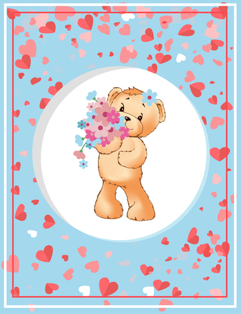 Teddy holding flowers, plush toy in circle. Valentine postcard decorated by hearts and frame, character with blossoms. Romantic card with furry bear vector