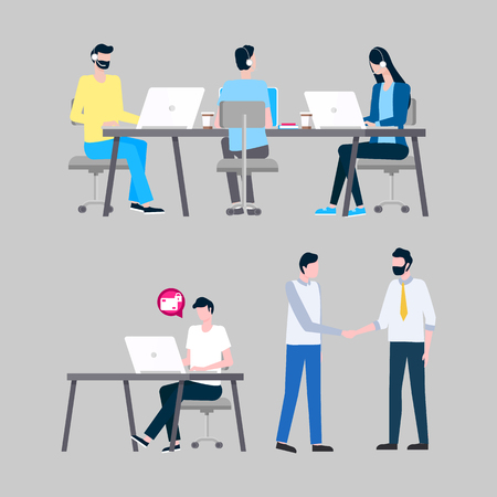 Online support workers at laptops with headphones vector. Internet informative aid, operators answering calls at desktops, men and woman isolated icons
