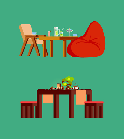 Wooden chair and stool, big soft beanbag, fresh fruit drink and sweets in glass and sushi on board. Wood table serving with plates, teapot and plant vector 向量圖像