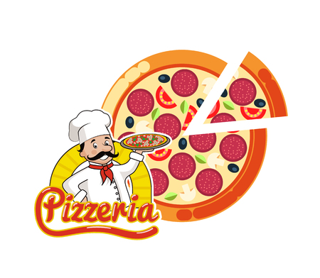 Pizzeria logo vector, cut pizza, Italian dish sliced. Isolated logotype of chef holding prepared meal with salami, olives and tomatoes, parsley and greenery