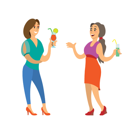 Women holding cocktail in colorful evening clothes vector. Smiling friends girl standing with drink, portrait view. Fashion people joying in nightclub Illustration
