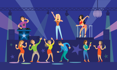 Nightclub clubbing people with drinks dancing together vector. PJ and DJ mixing music for visitors, musician on top singing on microphone, partying Illustration