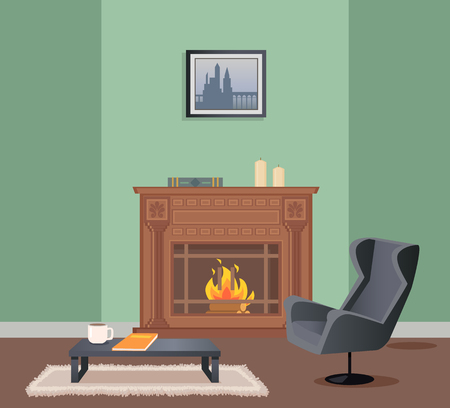 Room in green color of wallpaper with picture, fireplace decorated with book and candles . Armchair and coffee table with cup and notebook on rug vector 向量圖像