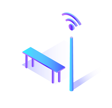 Wifi connecting hot spot with bench to sit isolated icon vector. Internet giving stand with traditional sign of network, public place get online connection