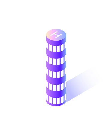 Skyscraper of rounded shape, modern city isolated icon vector. Building with place for helicopter to land, roof with H sign for copters landing smart town