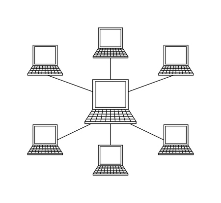 Connected laptops, wifi Internet wireless link vector. Portable computers linked to main device monochrome isolated outline icon, corporative network