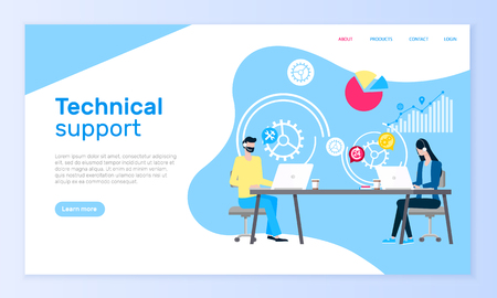 Technical support online web site, operators aid vector. Man and woman in headset at laptops answering messages and calls, graphics and diagrams or charts. Webpage template or landing page in flat style Illustration