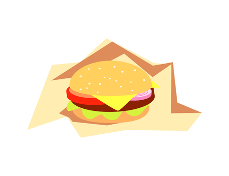 Burger fast food served in paper vector, bistro meal isolated icon. Snack cheeseburger with cheese, tomatoes and bun, hamburger appetizer with onion