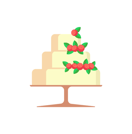 Wedding cake with strawberries and leaves vector. Berries delicious sweets isolated icon, pastry with glazed layers, topping made of sugar sugary food