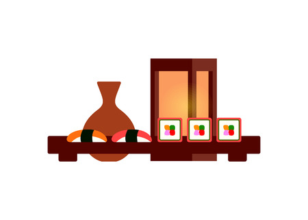 Japanese restaurant food, sushi or roll and sake isolated vector icon. Sashimi with salmon and tuna, vase of alcohol drink and lantern, table setting  イラスト・ベクター素材
