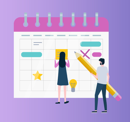 Calendar or organizer, time management or planning vector. Woman and man with pencil, schedule and business affairs, light bulb and gold star in day cells Çizim