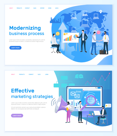 Modernizing business process, effective strategy technologies vector. Website working people with optimization and development, worldwide network. Webpage template, landing page in flat style Illustration