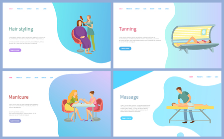 Hair styling, manicure and massage, tanning spa procedures. Masters making nails and hairstyle to women, relaxation trearment for human vector. Website or webpage template, landing page in flat style