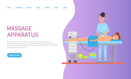 Apparatus massage for back of lying woman with towel, purple website of spa procedures. Pampering and relaxation of body, cosmetic flasks under table. Webpage template, landing page in flat style