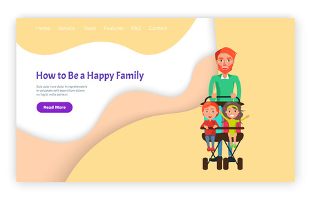 How to be happy family father with children vector, page with text. Daddy with son and daughter sitting in perambulator, carriage with kids walks Standard-Bild - 125411889