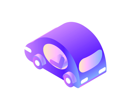 Smart car with for drivers, automated driving system vector. Isolated icon of transportation, automobile of future, futuristic auto for town citizens