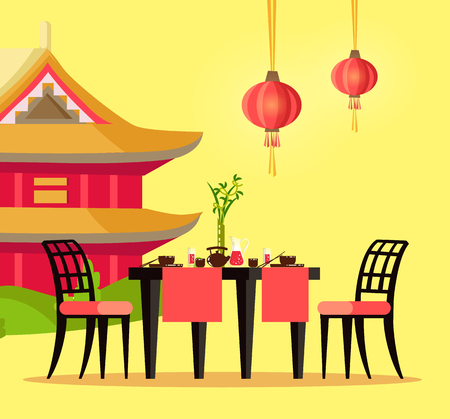 Chinese restaurant outdoor table and house with pagoda vector. Bowl with chopsticks and teapot, jug of lemonade and bamboo in vase, chair and lanterns Stock Vector - 125411892