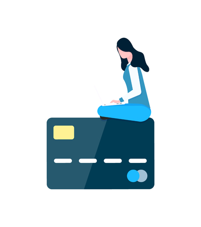 Woman sitting on big credit card with numbers vector. Personal information of user, payment plastic object with money, isolated character shopping online Illustration
