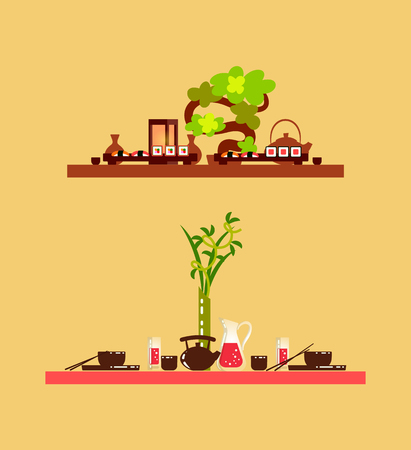 Wooden table serving with decorative green plant. Service for two, board with sushi, teapot and japanese dishes, chinese tableware and food vector Illustration