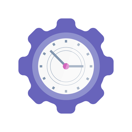 Clock in shape of cogwheel isolated vector icon, time management. Planning and scheduling, efficient and productive work, mechanism with hours and minutes Illustration