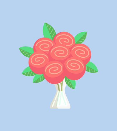 Rose bouquet pink vector, decoration of flowers with leaves in vase isolated icon. Flora blossom in glass container, botanical foliage leafy plant