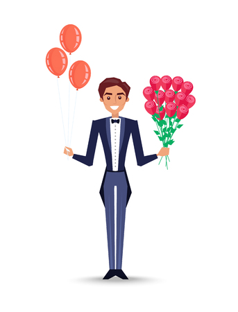 Man holding inflatable balloons and rose bouquet vector. Waiter wearing uniform greeting, special gifts for person, flowers with flourishing and leaves