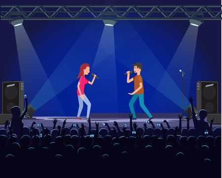 Couple of performers singing song with microphone on scene. People recording show of singers man and woman. Stage with light effects and speakers vector