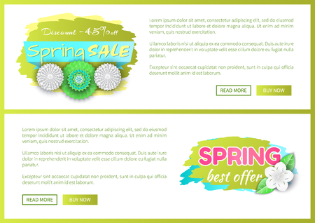 Springtime flower in bloom on sale label, promo advert certificate or voucher. Spring best offer reduction of price vector web poster with text template. Imagens - 116764584
