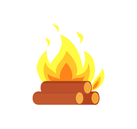 Burning billets isolated vector icon. Flame tongues and logs in yellow fire, hot campfire or bonfire, realistic flammable sparks, firewood and blazing tree Illustration