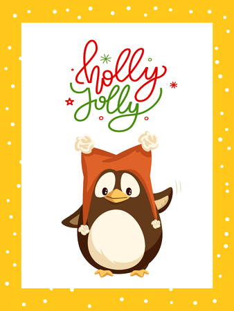 Holly Jolly greeting card in frame and penguin winter character in warm hat with two pompons greeting everyone by wing. Vector cartoon animal in red cap 向量圖像