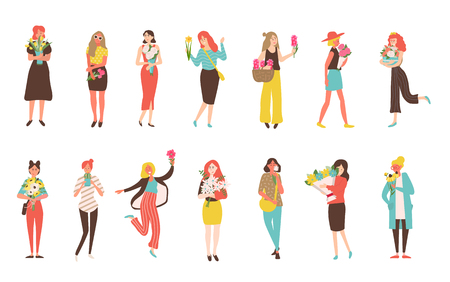 Happy girls with flower bouquets isolated vector icons. Set of womens in dresses or trousers hold tulips and peonies, narcissus and cactus, chamomile and rudbeckia in flat style Фото со стока - 116467997