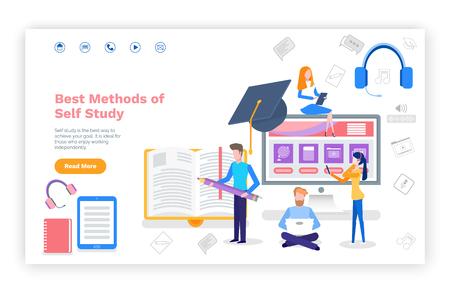 Meilleures méthodes de site Web d'auto-étude avec un exemple de texte vectoriel. Les personnes apprenant de nouveaux contenus à l'aide de gadgets, d'ordinateurs portables et de cours en ligne par téléphone. Modèle de page Web, page de destination dans un style plat Vecteurs