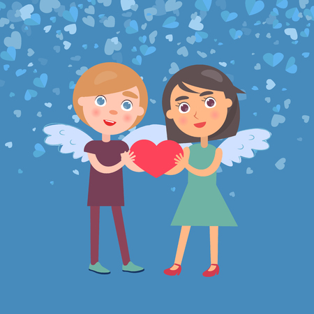 Man and woman holding big red heart, Valentine card. Standing girl in dress and boy in casual clothes with wings. Blue romantic card in flat vector