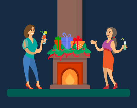 Fireplace with flames at home Christmas friends gathering vector. People with cocktails drinking and talking, winter holiday party. Presents in wrappings Illustration