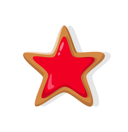 Star baked gingerbread isolated on white. Cookie traditional element for New Year and Christmas. Red sweet confectionery dessert in realistic style vector