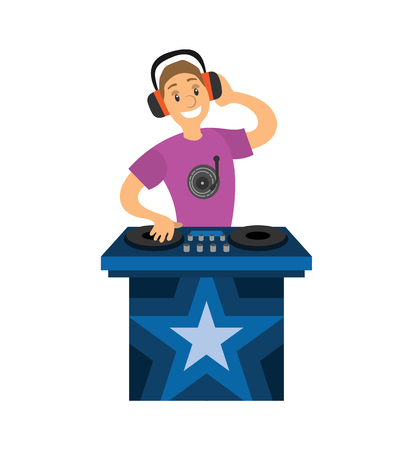 DJ boy character mixer making music and having fun. Night club disco bar and smiling man in headphones holding disc isolated on white cartoon vector
