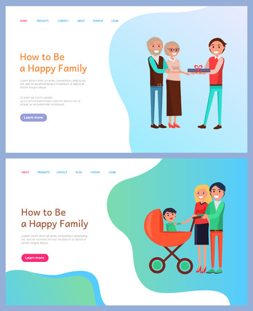 How to be happy family birthday celebration vector. People walking with perambulator and newborn kid, wife and husband elderly couple with grown up son. Website template, landing page in flat style