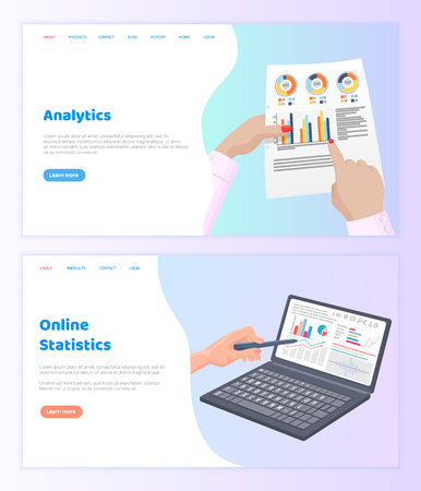 Online statistics paper documentation website vector. Visual representation of information, internet technologies graphs with data in infographics. Webpage template, landing page in flat style Stok Fotoğraf - 116764587