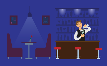 Night club bartender in empty hall with drink glass vector. Male working in evening shifts, alcoholic beverage in bottle, servant sommelier with bar
