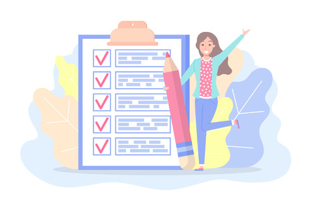 Checklist met tekens en tekst vrouw planning plan vector. Dame met groot potlood, gebladerte en voorgevel. Dingen om te doen op papier, pagina met werktaken in vlakke stijl