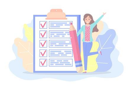 Lista de verificación con marcas y vector de plan de planificación de mujer de texto. Señora sosteniendo gran lápiz, follaje y fachada. Cosas que hacer en papel, página con tareas de trabajo en estilo plano