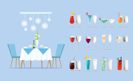 Restaurant table and cocktail or wine glasses vector. Diner setting, furniture and flowers in vase, drinks containers or dishware, beverages or alcohol