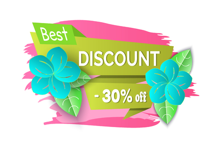 Best spring discount 30 percent off price banner vector. Special offer proposition seasonal sale, floral decoration summer flowers and ribbons with text Illustration