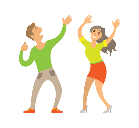 Partying couple, man and woman dancing on disco vector. Isolated clubbing pair, male and female enjoying party, dancing boyfriend and girlfriend in club